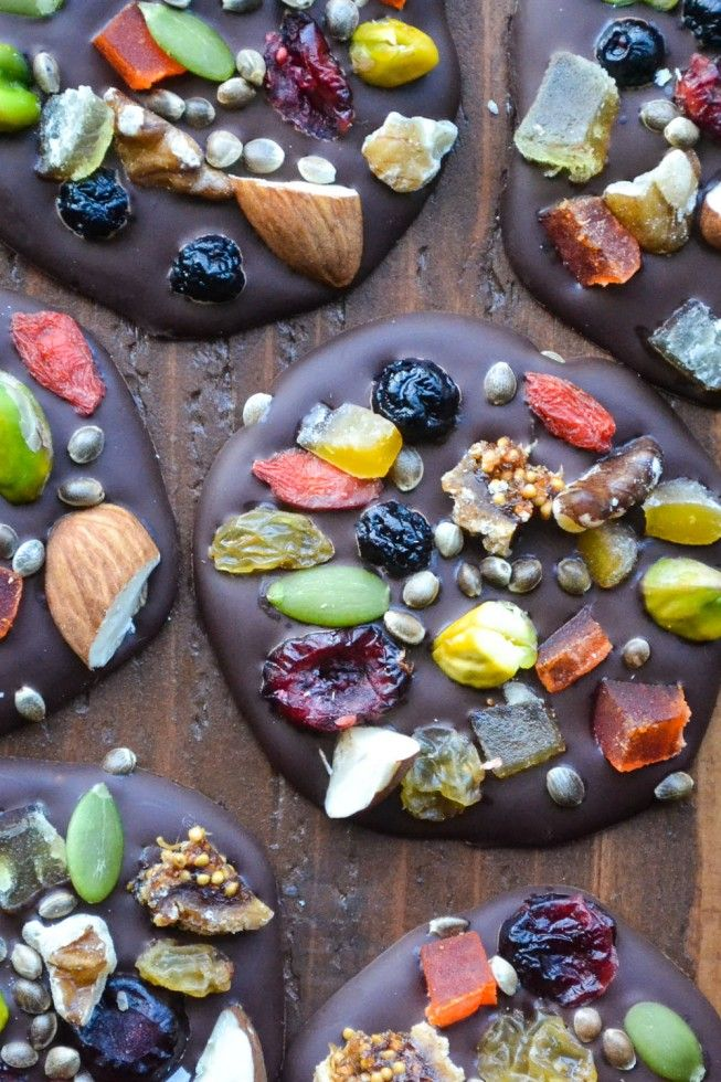 These Dark Chocolate Detox Bites are packed with assorted dried fruits for a nutrient rich bite. They're vibrant color is all natural too!
