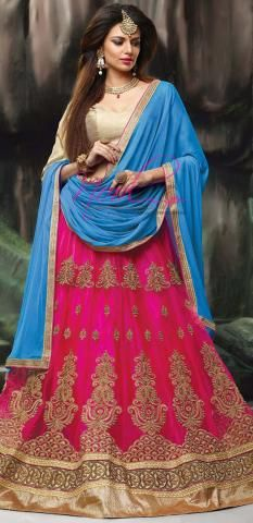 Langa Voni Lehenga Rose Net Silk Semi Stitch Embroidery ND1103D10171