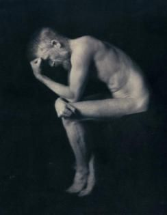 1906: George Bernard Shaw posing as Rodin's The Thinker