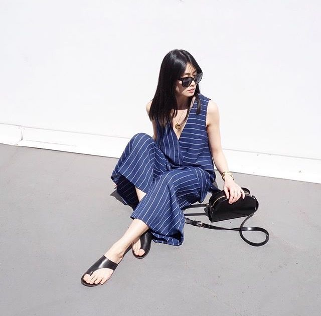 Blue striped jumpsuits. 60's and 70's style