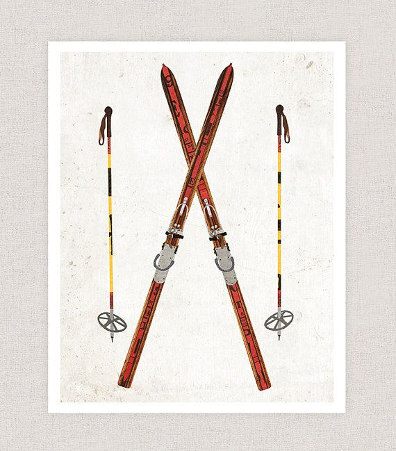 Skis and Poles. A print of my digital collage created with vintage textures.  Choose between four sizes, 5x7, 8x10, 11x14, and 11x17.  Printed on an archival luster paper.  ---------------  Prints are placed in cello sleeves for protection and then shipped in a cardboard or tube mailer, depending on size.    The Curious Nickel. © Lindsey Nichols, all rights reserved. Copyright non-transferable with sale. http://thecuriousnickel.etsy.com