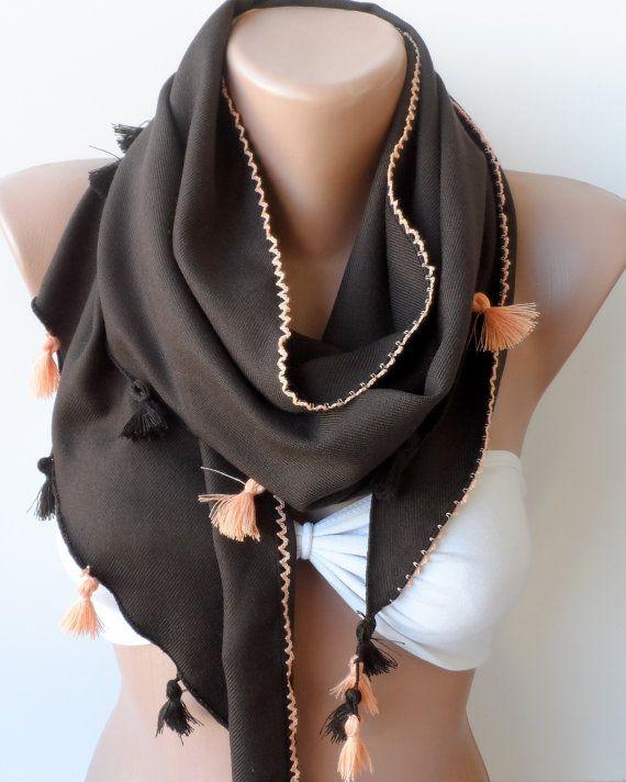 Chocolate Pashmina Shawls Summer scarf Cowl with by elegancescarf, $17.90
