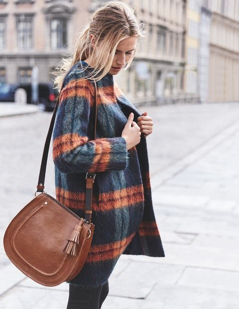 SHOP | Sienna Textured Coat - gorgeous mohair fabric checked coat ideal for snuggling up for hygge time this autumn winter.