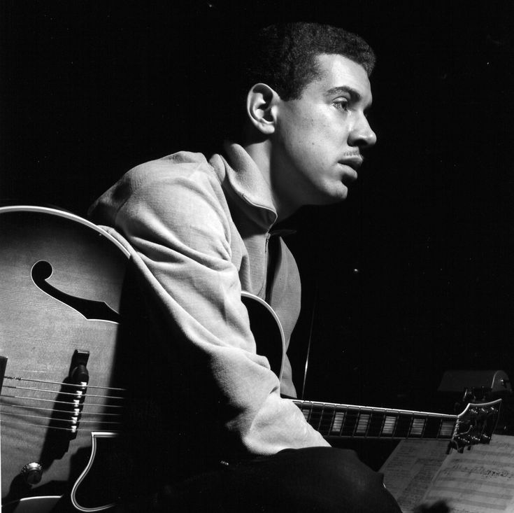 "Kenny Burrell, photographed at his ""Midnight Blue"" recording session in 1963 by Francis Wolff. http://www.bluenote.com/spotlight/soul-lament-kenny-burrells-midnight-blue"