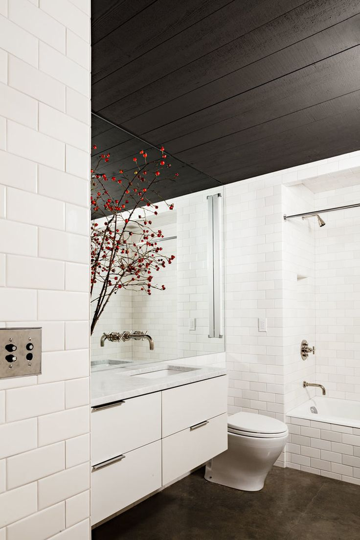 471 best bathroom beauty images on pinterest room bathroom white bathroom design with dark paneled ceiling jessica helgerson interior design