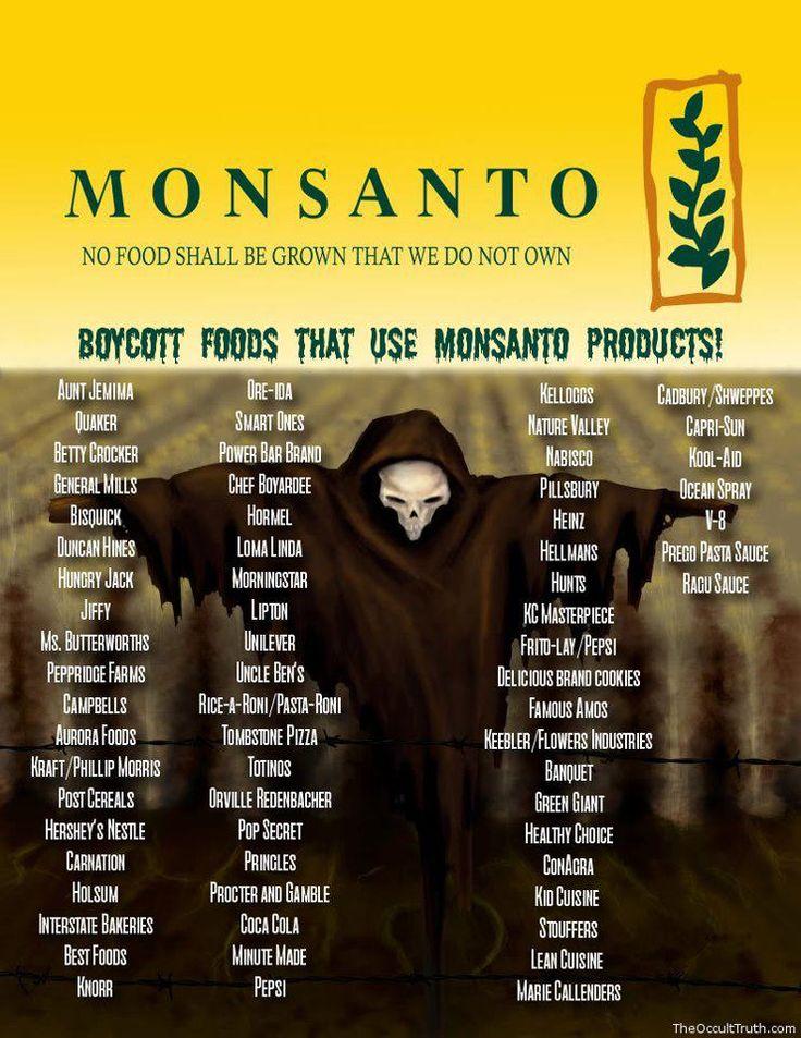 WOW... I had no idea that so many companies used Monsanto products! EEk Boycott Monsanto Products | No GMO