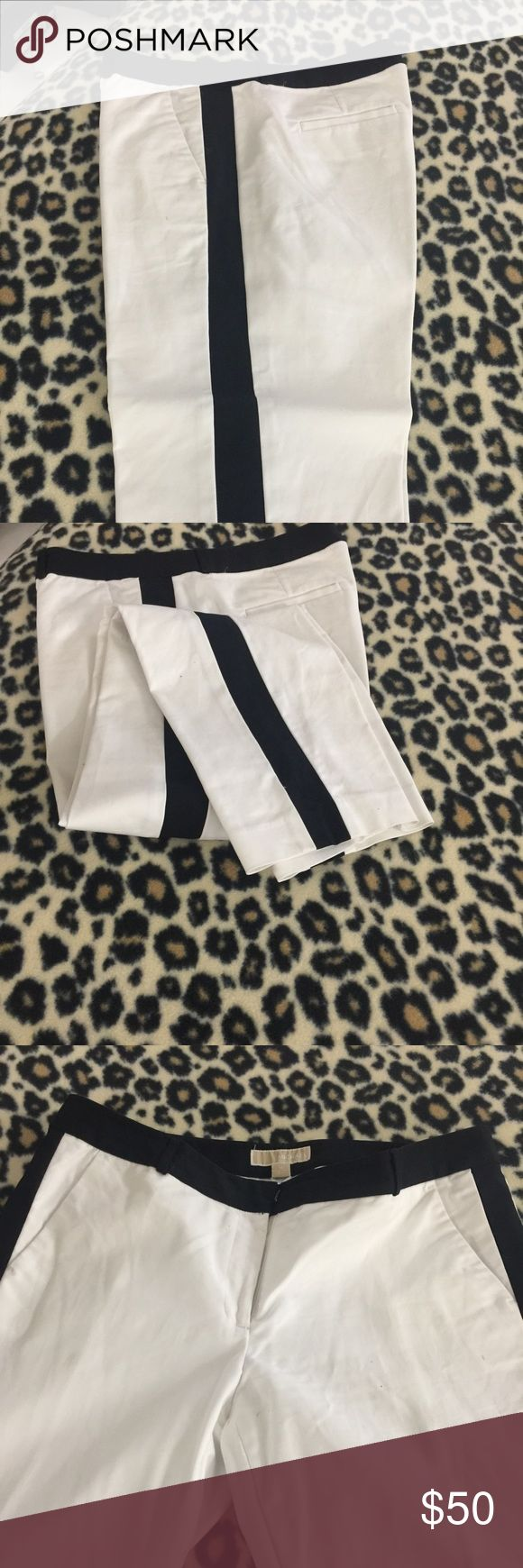 Michael Kira Tuxedo type ankle pants Beautiful classic black and white tuxedo striped pants. Side packets in front slash pockets in back. Almost new Michael Kors Pants Ankle & Cropped