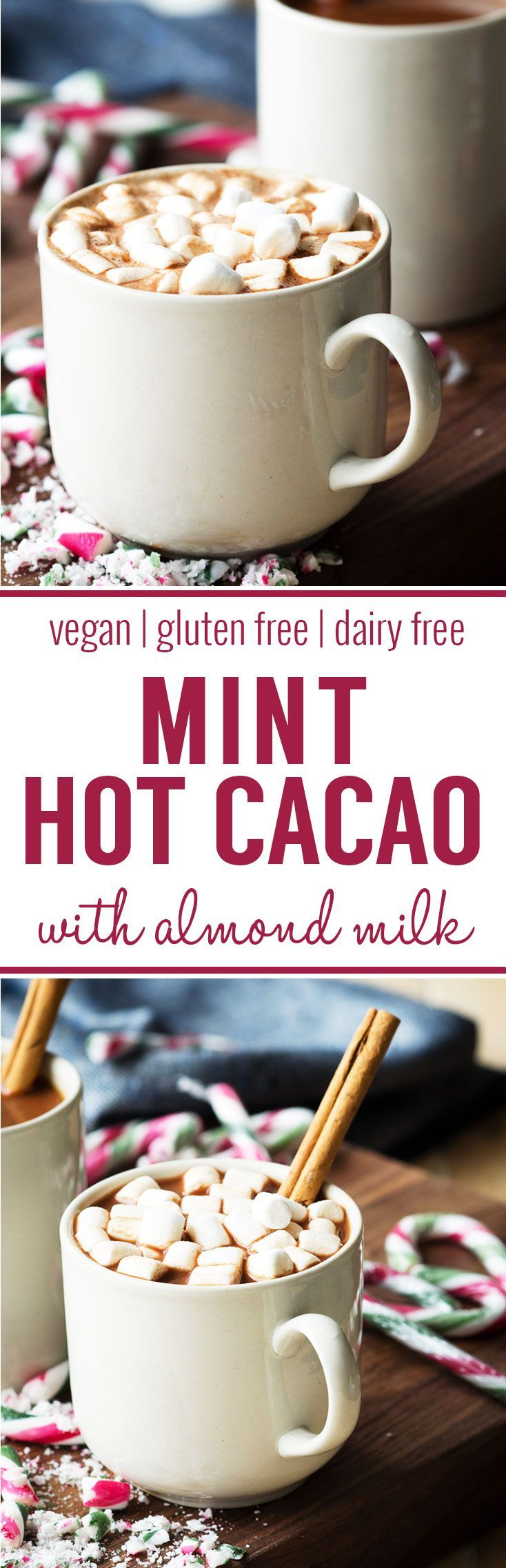 Mint Hot Cacao (Vegan, Gluten Free, Dairy Free). A delicious warm drink made with almond milk and perfect for the winter. Cacao is the minimally processed form of cocoa, and thus retains more nutrients, making it rich in antioxidants, iron, magnesium, pot