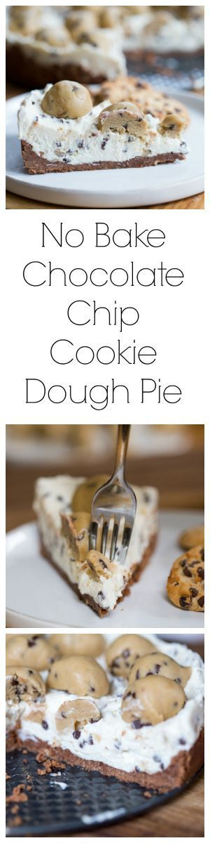 No Bake Chocolate Chip Cookie Dough Pie