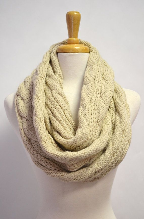 VERY Cosy! Oatmeal Ivory Off White Chunky Knitted Loop by AnytimeScarf, $42.00