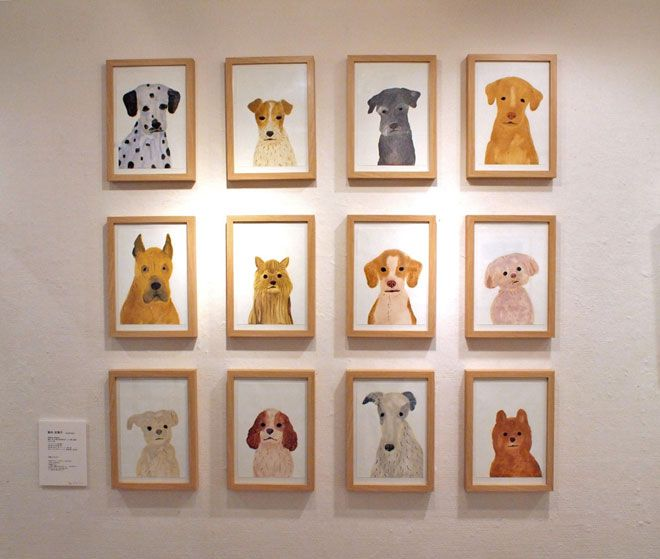 Framed photos of your dog is going too far but for some reason this is perfect. Dog portraits byItsukoSuzuki via Miss Moss