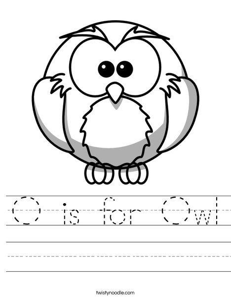 O is for Owl Worksheet - Twisty Noodle | Preschool letters ...