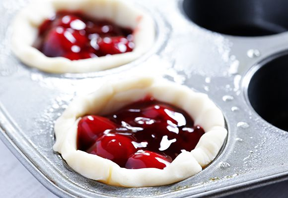 Mini Fruit Pies  --  refrigerated pie crusts are cut to fit muffin pan cups and filled with your favorite canned fruit pie filling.