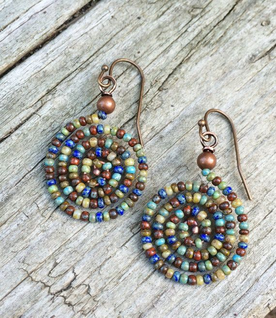 Colorful Boho Spiral Beaded Earrings by RusticaJewelry on Etsy