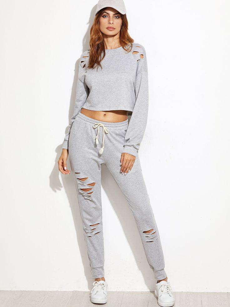 Heather Grey Ripped Crop Top With Drawstring Waist Pants 22.90