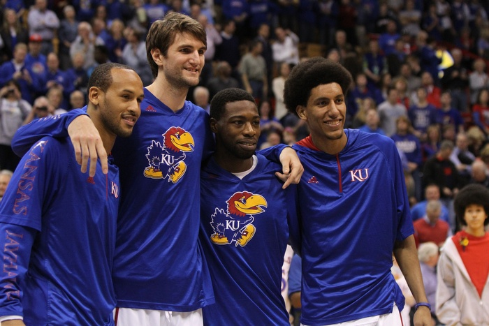 Seniors Travis Releford, Jeff Withey, Elijah Johnson and Kevin Young pose for a picture during the game against Texas Tech on March 4 in Allen Fiieldhouse where the Jayhawks defeated the Red Raiders 79-42 on Senior Night.
