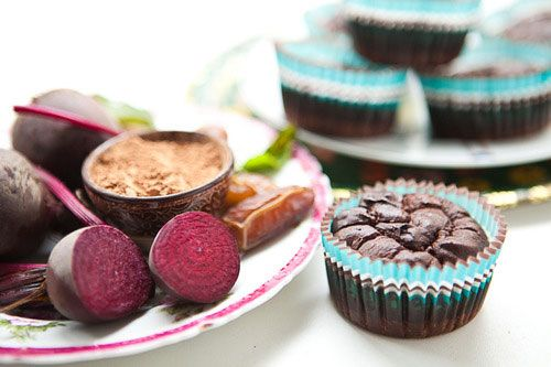 These rich and moist little chocolate fudge cakes can turn even the most avid hater of beetroot and take the idea of a healthy treat to another level. Whole beetroots are sweetened with sticky dates and we make them gooey using full fat butter. Ground cacao beans provide the chocolaty hit and tamari, the salty, earthy, gluten-free soy sauce brings out the sweetness.