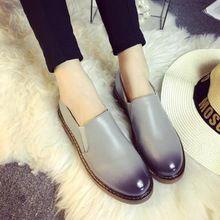 Градиент Цвета Оксфорды Мокасины Zapatos Mujer Femme Старинные Ретро Голые Сапоги Скольжения на Круглый Носок Случайные Британский Обуви Швейные(China (Mainland))