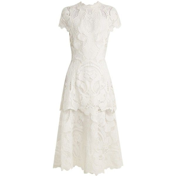 Jonathan Simkhai Tiered scallop-edged guipure-lace dress ($1,195) ❤ liked on Polyvore featuring dresses, ivory, high-neck lace dresses, white high neck dress, winter white cocktail dress, ivory cocktail dress and ivory lace cocktail dress