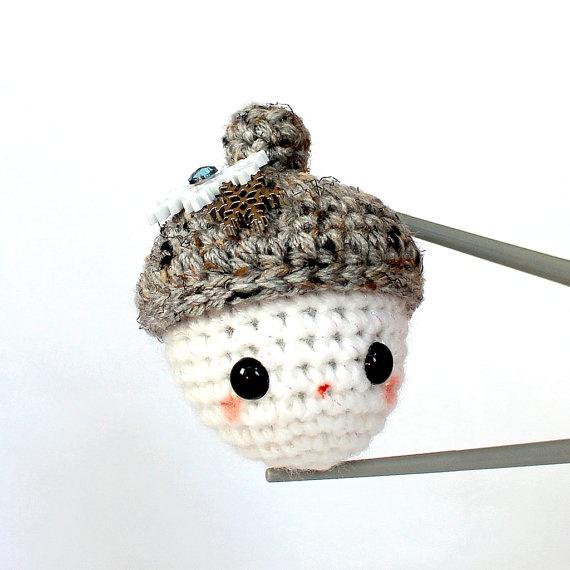 Amigurumi mini size crochet toy doll -Snow acorn MochiQtie by MochiQtie, $15.00