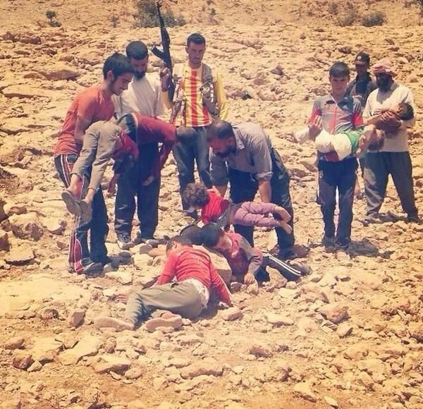 DEMONIC!! Leader: ISIS is 'Systematically Beheading Children' in 'Christian Genocide' - Kurdish children are dying of thirst and hunger on Sinjar mountains. - CNS News ... BTW, This is a photo of Kurdish children who died of thirst/hunger, not children about to be beheaded. (Although plenty of pics of beheaded kids are out there also.)