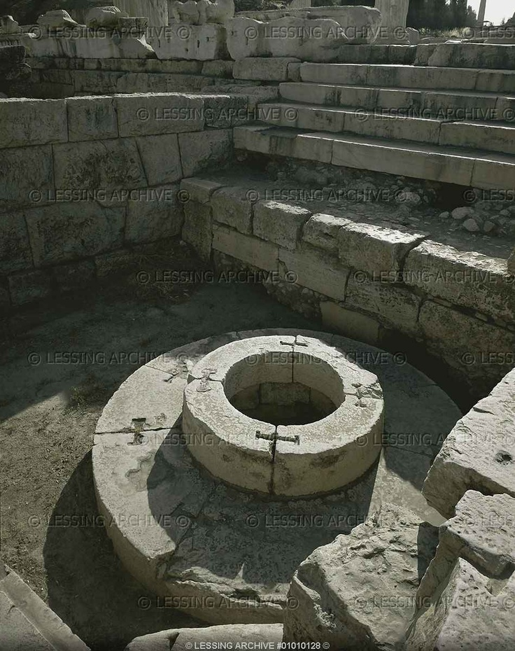 """Sanctuary of #Demeter, Eleusis. The sacred well Kalichoron """"of the fair dances"""" around which the women of Eleusis danced in honour of Demeter, #Goddess of the Earth and of #fertility."""