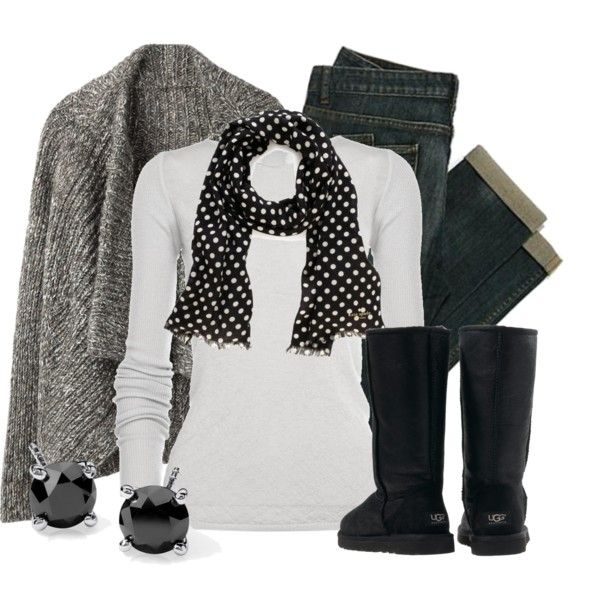 Neutral winter outfit - Gray wool sweater, white long sleeve t-shirt, black and white polka dot scarf, dark wash jeans, black uggs
