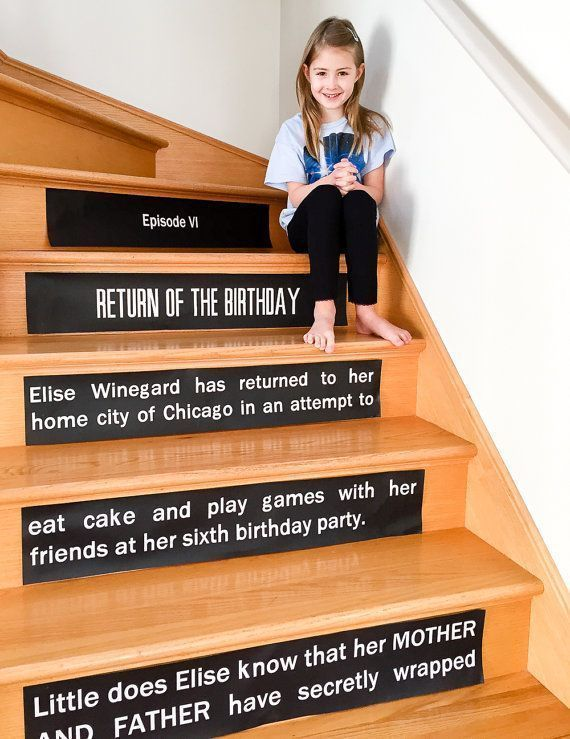 Star Wars Opening Crawl Stair Risers Signs. What a clever parody party decoration that guests will love!