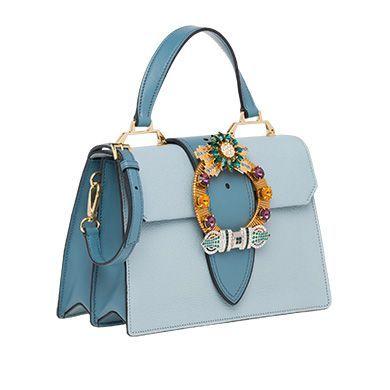 8048723ee6a8 Miu Lady Madras leather handbag MiuMiu LAKE BLUE  ladiesleatherhandbags