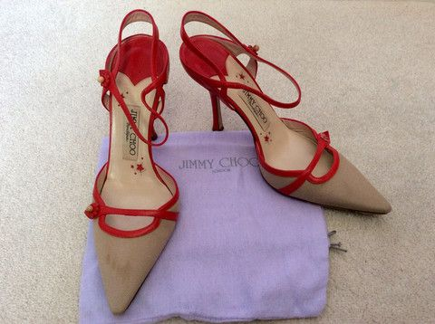JIMMY CHOO RED LEATHER & BEIGE CANVAS STRAPPY HEELS SIZE 5/38 - £100 Whispers Dress Agency - Womens Heels - 1