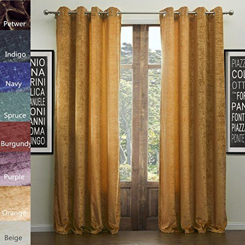 COFTY SOPHIA Chenille Rayon Bleand Heavy Weight Curtain Panel Drapes (1 Panel)-Nickle Grommet Orange 72Wx96L Inch