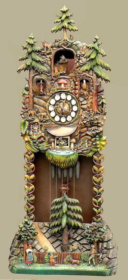 Reloj de abuelo del bosque negro de la vendimia de <br> Primavera! Enorme antigüedad madera tallada abuelo reloj negro bosque