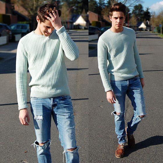 Zara Pastel Green Sweater, Hollister Co. Ripped Jeans ...