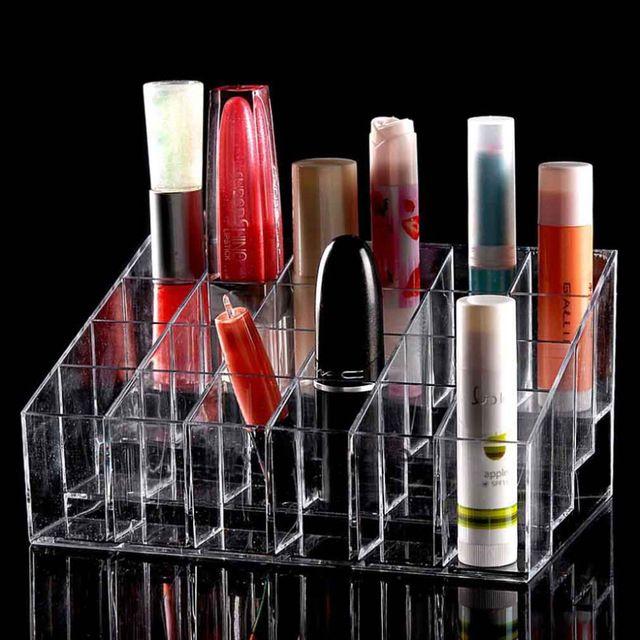 24 Batom Titular Display Stand Acrílico Transparente Cosméticos Organizador de Maquiagem Caso organizador de maquiagem De Armazenamento Diversos organizador Marca