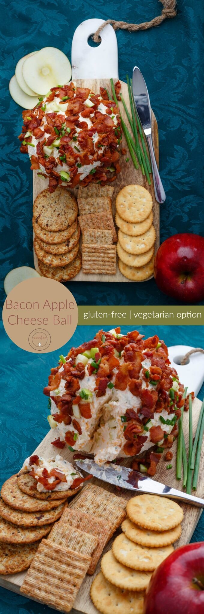 Bacon Apple Cheese Ball | http://thecookiewriter.com | @thecookiewriter | #appetizer #sponsored | This gluten-free holiday appetizer is perfect for any part, and it can also be made vegetarian by subbing in caramelized onions!