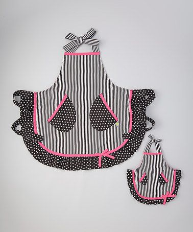 Look what I found on #zulily! Black & Pink Polka Dot Apron & Doll Apron - Girls by Dollie & Me #zulilyfinds