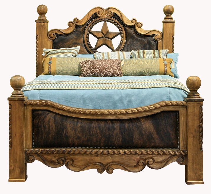 Rope Star And Cowhide King Bed. Western FurnitureRustic ...