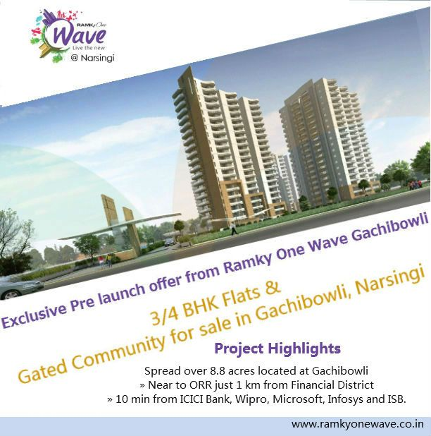 Ramky One Wave of Ramky Group, an extravagant and prestigious private improvement has been propelled with different courtesies that will have 3BHK and 4BHK flats in the quickly growing private region of Hyderabad.http://ramkyonewave.co.in/