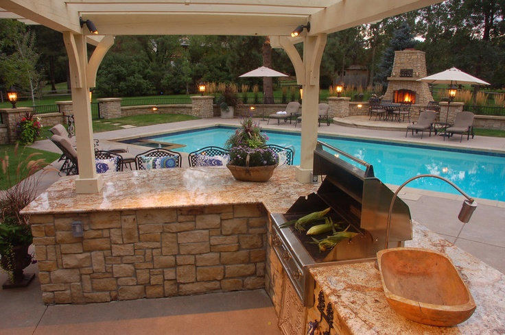 Outdoor grilling area w pergola greg bobich outdoor for Outdoor cooking areas designs
