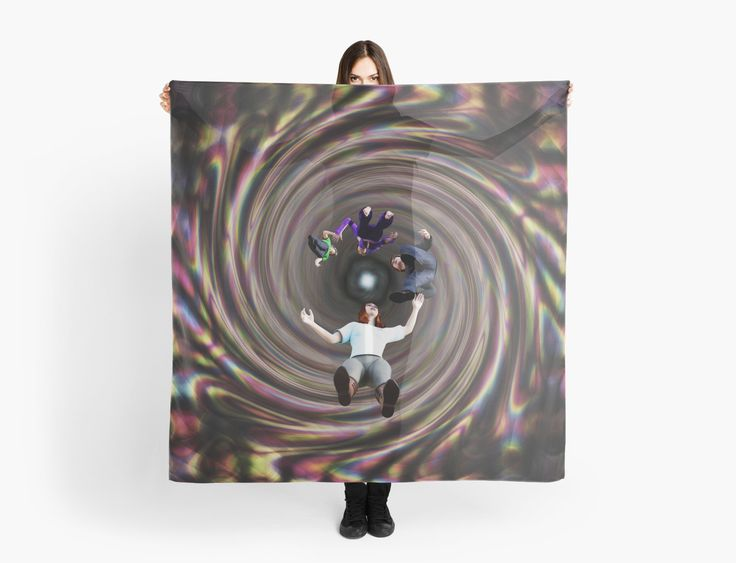 Through the Wormhole Toward the Light Scarves by Terrella.  A question mark formation of people traveling through a rainbow colored wormhole tunnel toward the bright light at the end. • Also buy this artwork on apparel, phone cases, home decor, and more.
