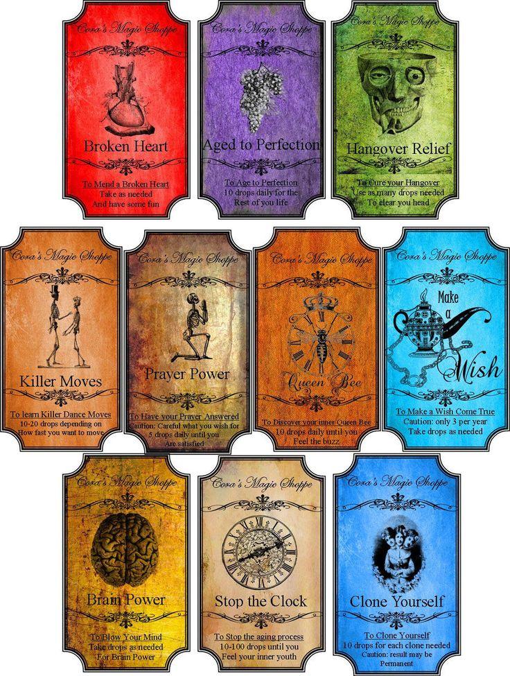 Grunge steampunk Halloween 10 bottle label stickers scrapbooking drink me tags | eBay