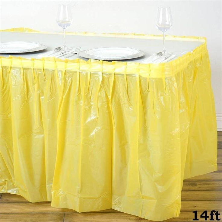 14ft Spotless Elegance Disposable Plastic Table Skirt Yellow Bring A Touch Of Grace And