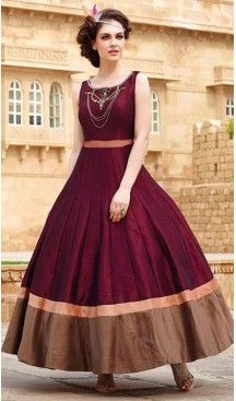 Silk Fabric Party Wear Gowns In Maroon Color | FH519578919 #gowns , #designer , #womens , #wedding , #evening , #party , @heenastyle , #readymade , #online , #fashion , #boutique , #silk , #dress , #indian , #shopping , #ceremony , #heenastyle , #ladies , #wear , #reception , #highfashion , #eveninggowns