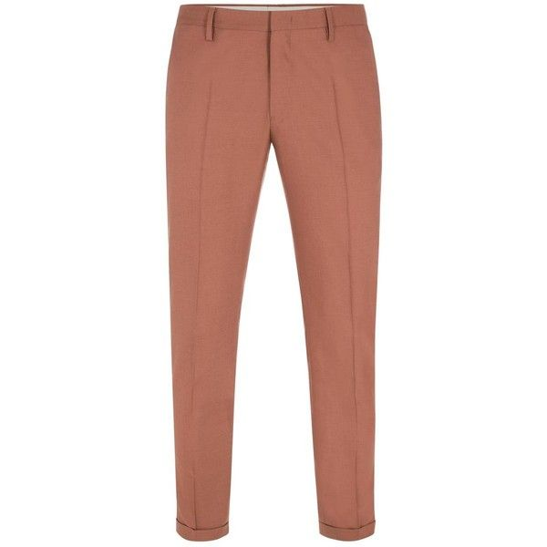 Paul Smith Men's Terracotta Wool Trousers (€400) ❤ liked on Polyvore featuring men's fashion, men's clothing, men's pants and men's dress pants