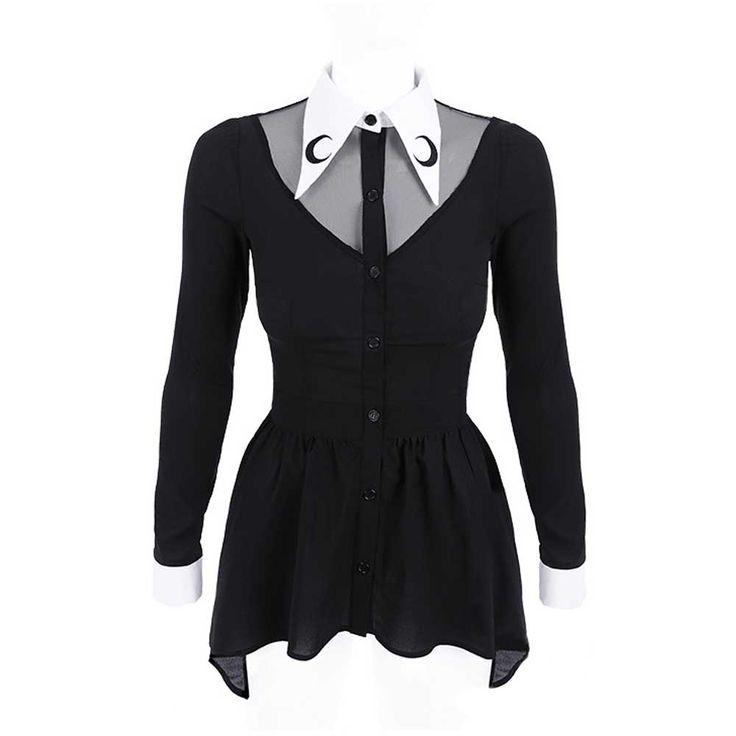 Luna blouse met lange mouwen en witte kraag zwart - Gothic Metal