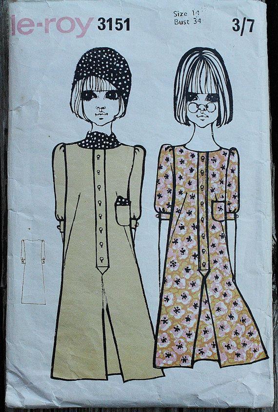 LeRoy 3151 1960s 60s Barbara Hulanicki Illustrated Biba Goul Girl Dress Vintage Sewing Pattern Size 14 Bust 34
