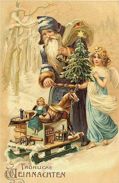 Victorian Christmas Santa & Angel Card