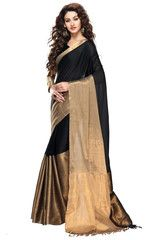 Black Color Cotton Casual Party Sarees : Shrinika Collection YF-27259