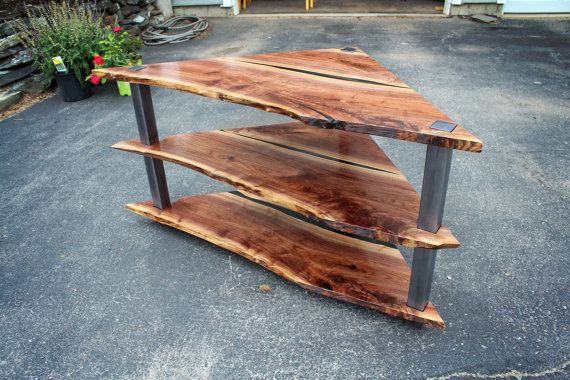 Corner Entertainment Center Walnut and by HigginsFabrication
