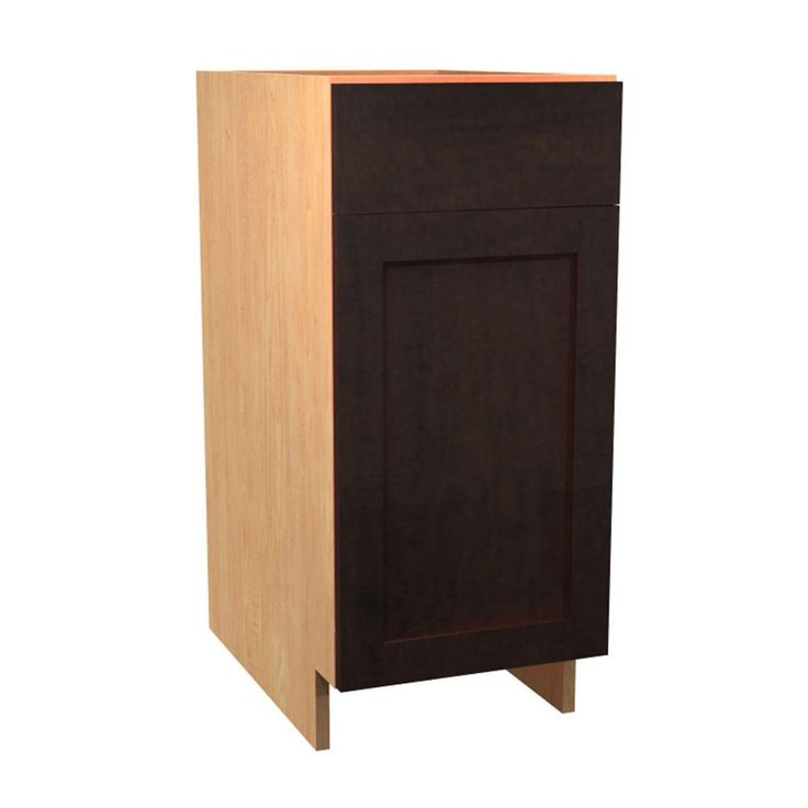 15x34.5x24 in. Elice Base Cabinet with 1 Wire Pullout Tray 1 Soft Close Door and 1 Soft Close Drawer in Mocha (Brown)